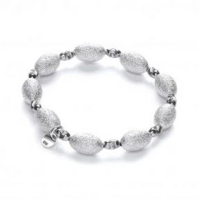 J-Jaz Rhodium plated Sterling Silver bracelet with Frosted & Ruthenium Beads